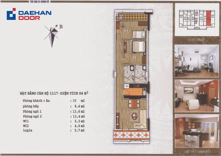 Cửa thông phòng ABS tạo điểm nhấn trong không gian căn hộ D2 Giảng Võ